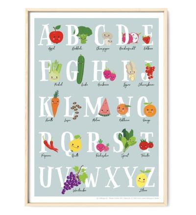 Veggi ABC Poster Plakat Kinderzimmerposter - DIN A3, Poster, Obst & Gemüse, Schulanfang