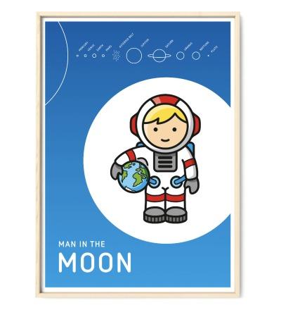 Plakat Poster Mann im Mond Kinderzimmerposter - DIN A2