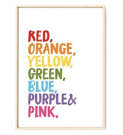 Colors of a Rainbow Regenbogen Poster Plakat Kinderzimmerposter