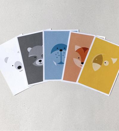 5 Postkarten, Fuchs, Eisbär, Waschbär, Papagei und Walross - Postkartenset