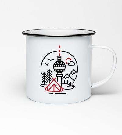 Emailletasse mit Berliner Fernsehturm Emaillebecher Tasse Berlin - Becher Daily Adventure Berlin
