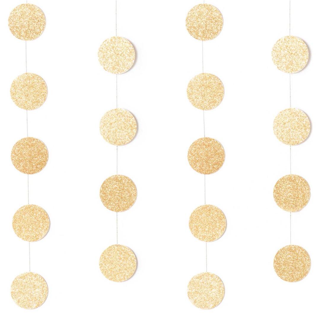 Genähte Girlande Kreise 38CM Glitter-Gold 2m