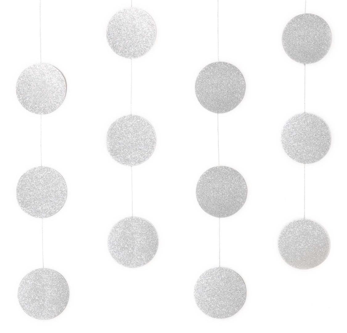 Genähte Girlande Kreise 8 cm Glitter-Silber
