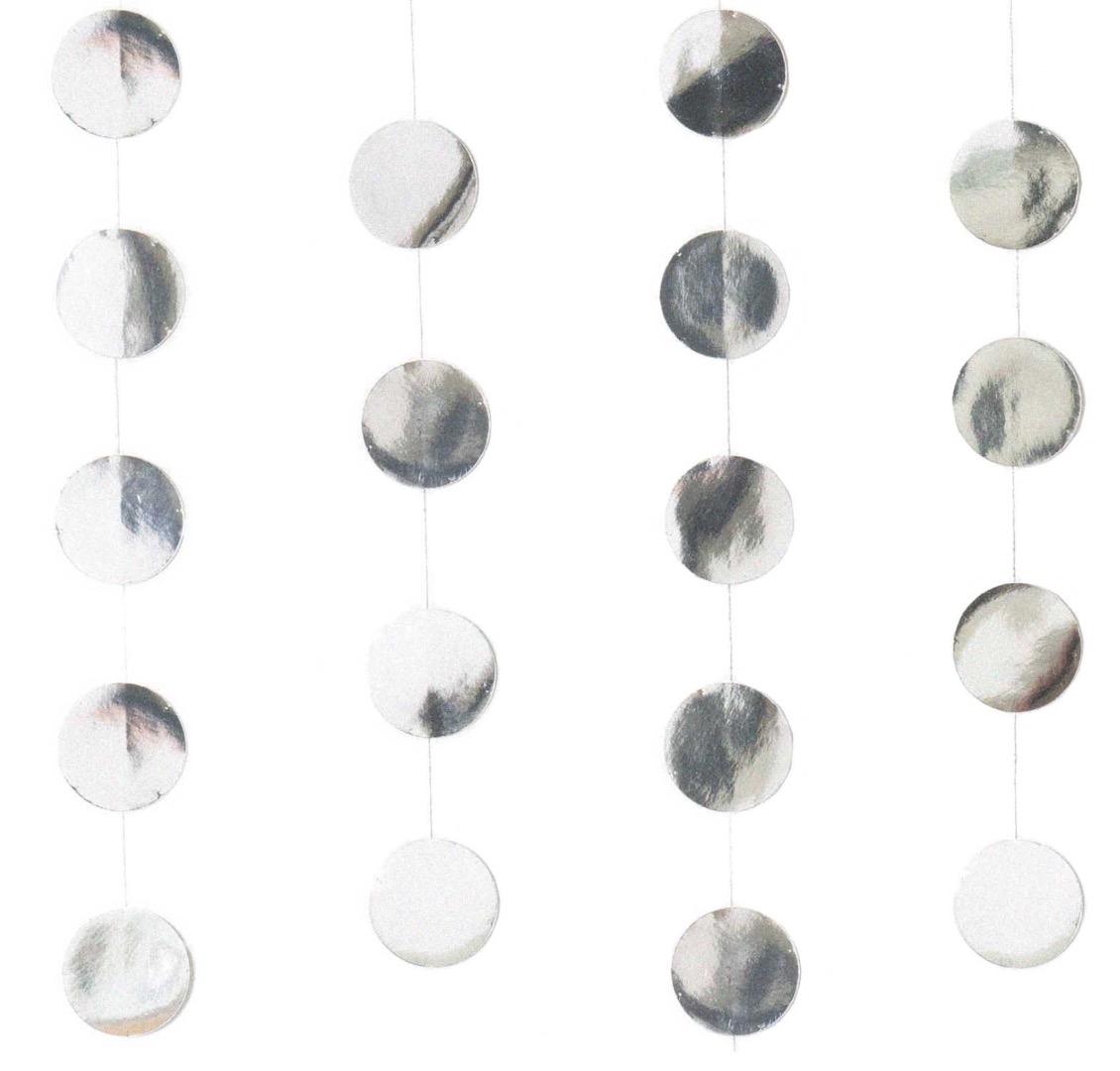 Genähte Girlande Kreise 8 cm Silber