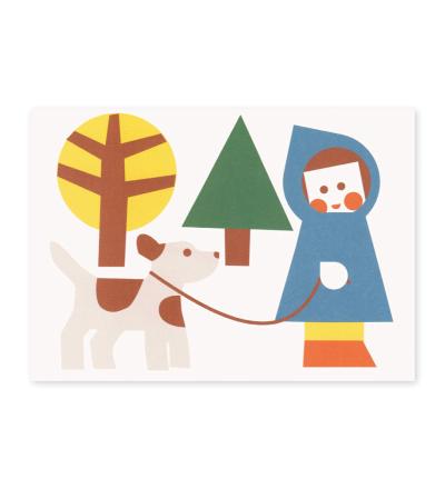 Kind mit Hund - Postkarte