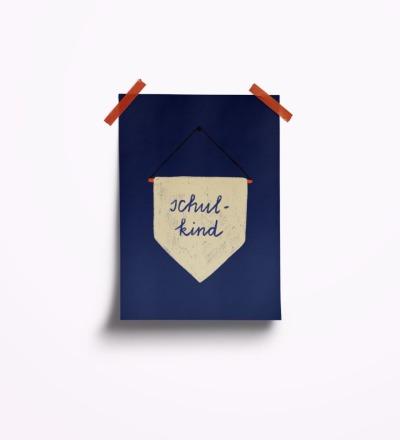 Schulkind blau - Postkarte