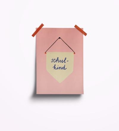 Schulkind rosa - Postkarte