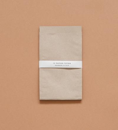 Papier-Tüten 12 Stück - graubraun