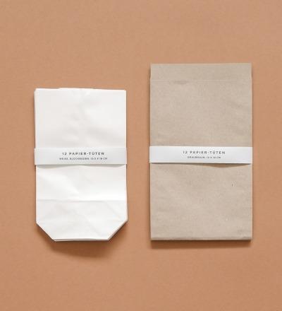 Papier-Tüten 24 Stück - graubraun und