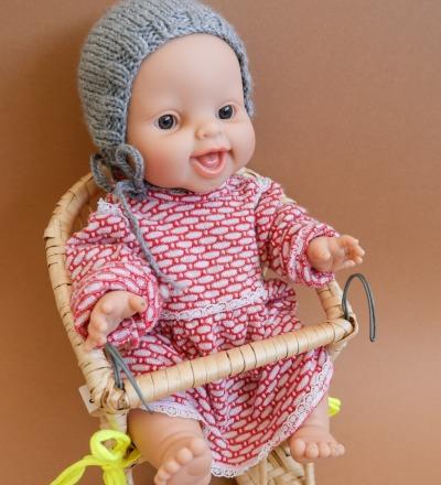 Puppenfahrradkorb aus Weide mit Sitzkissen Puppensitz