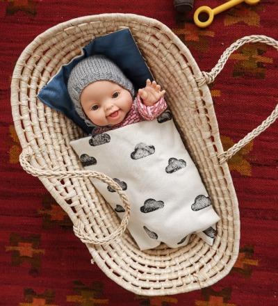 Puppenkorb mit Bettwäsche - wolke /