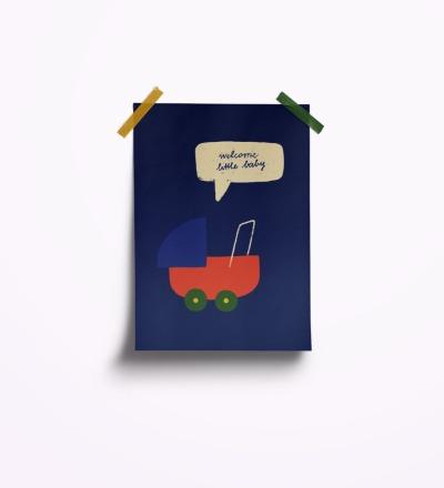 welcome little baby blau - Postkarte