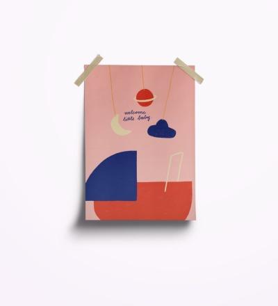 welcome little baby rosa - Postkarte
