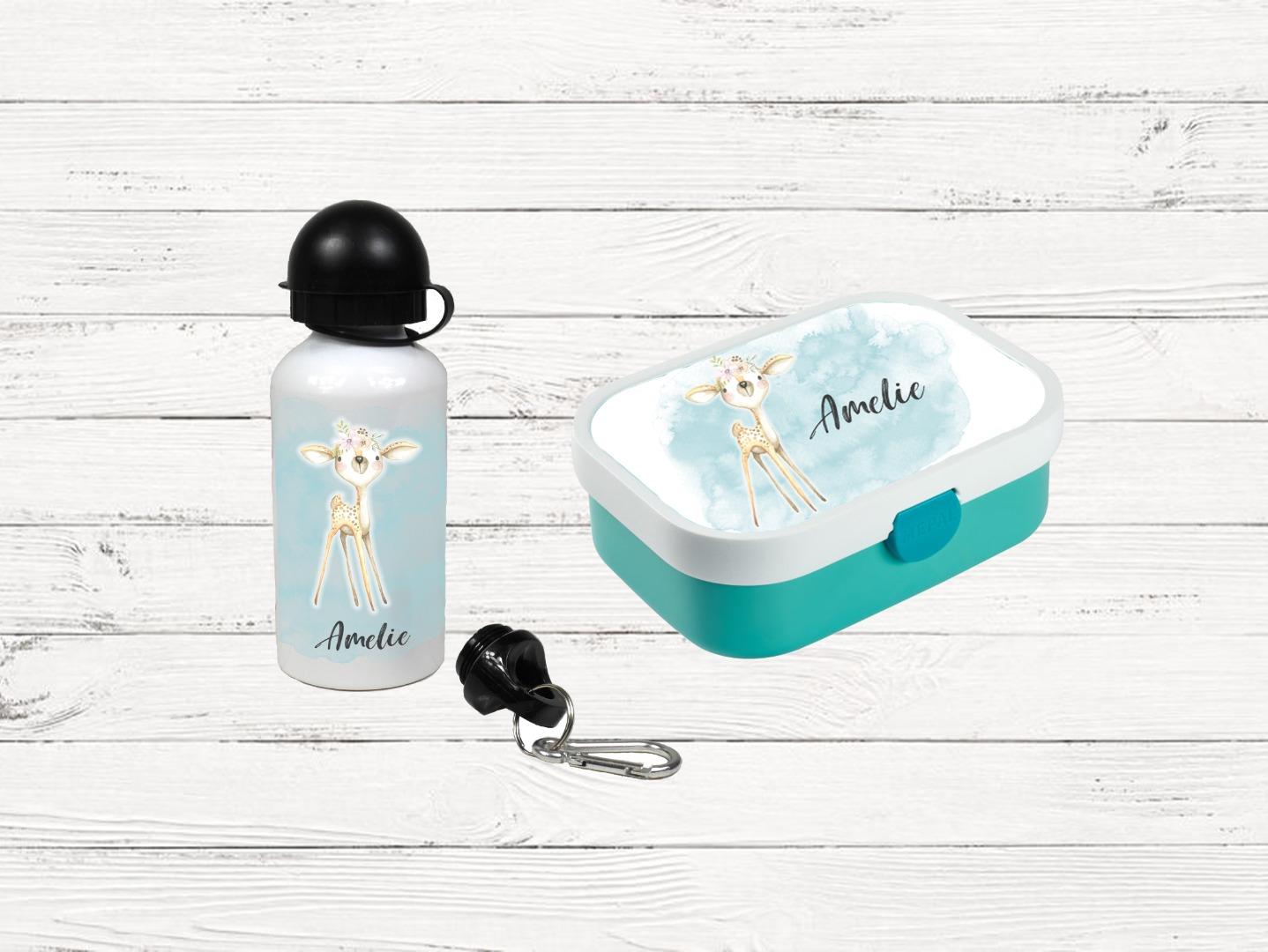 Brotdose mit Name Trinkflasche personalisiert Reh