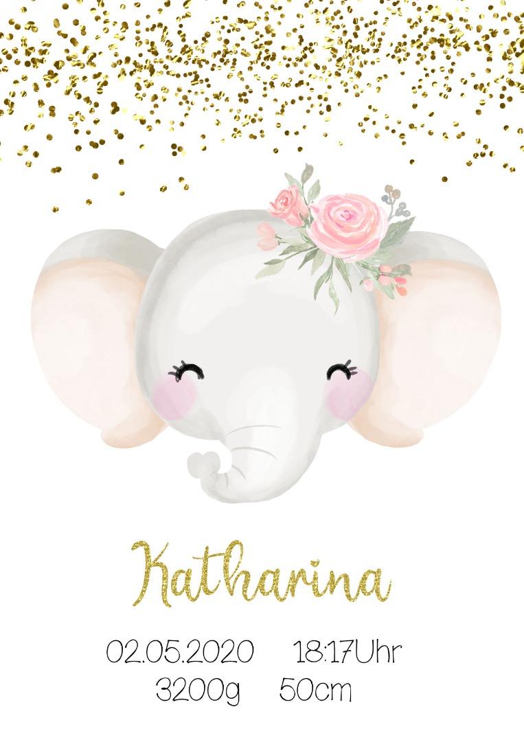 Geburtsposter Elefant Geburtsdaten personalisiert Namensposter Kinderzimmer