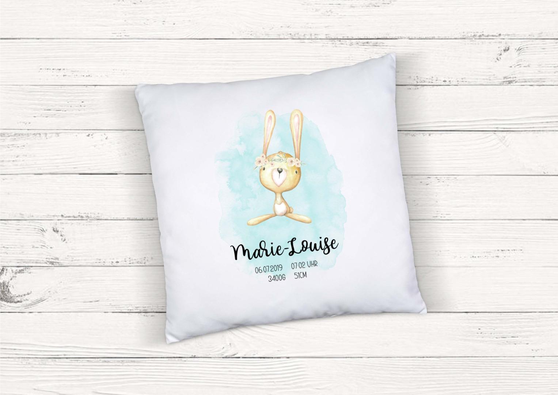 Kissen zur Geburt Hase personalisiert mit