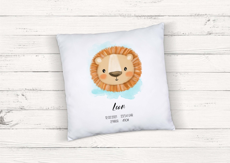 Kissen zur Geburt Löwe personalisiert mit