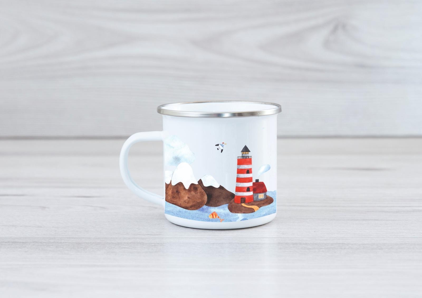 Emaille Tasse personalisiert mit Namen maritim