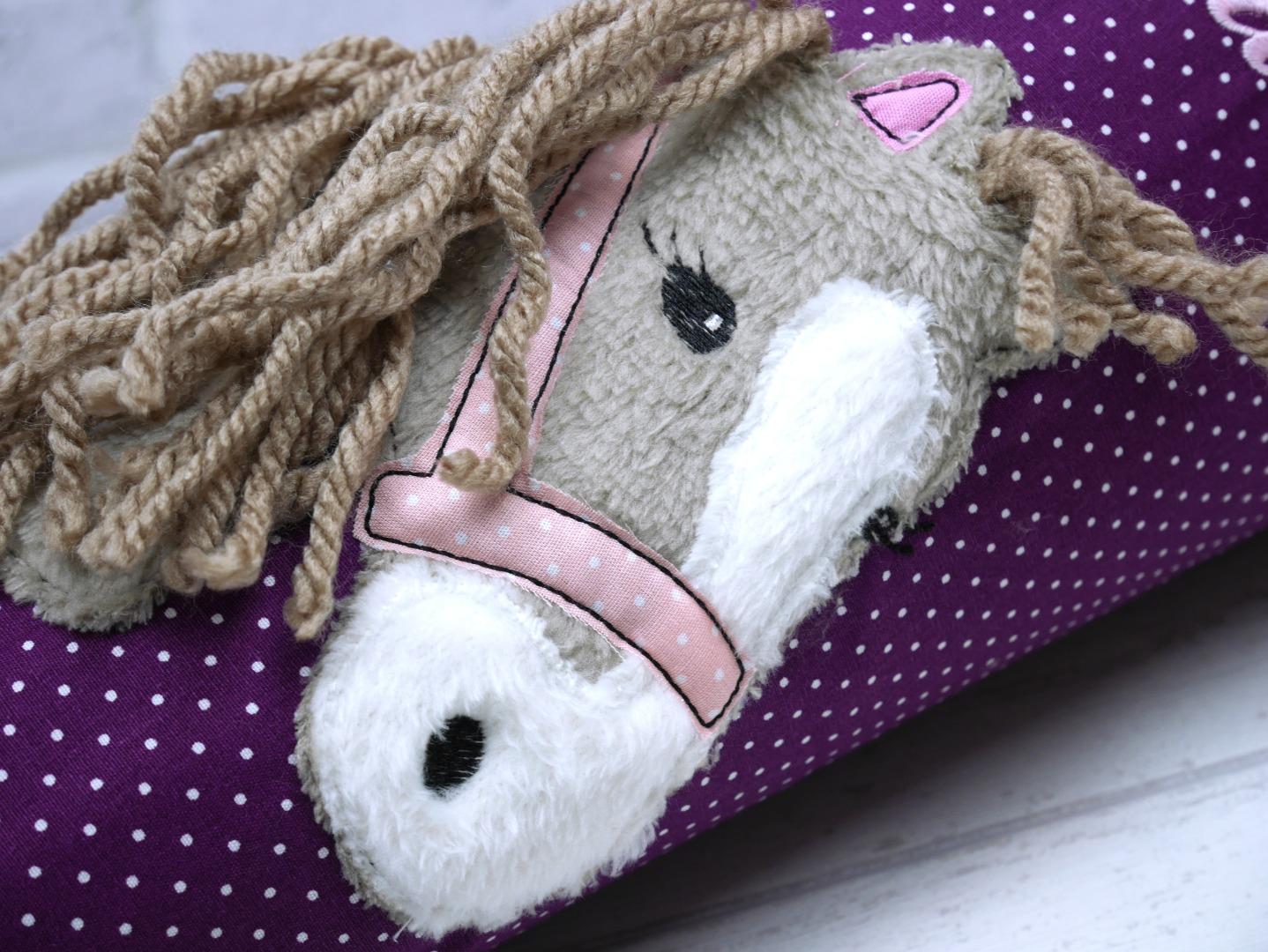 Schultüte Pferd Stoff lila Zuckertüte Pferdekopf