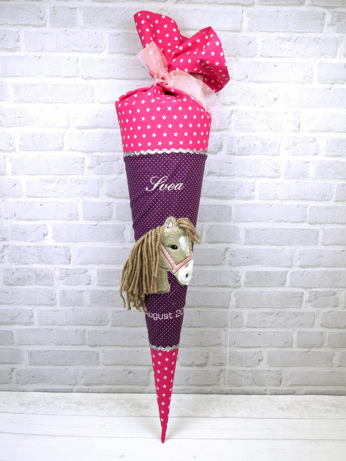 Schultüte Pferd Stoff lila pink Zuckertüte