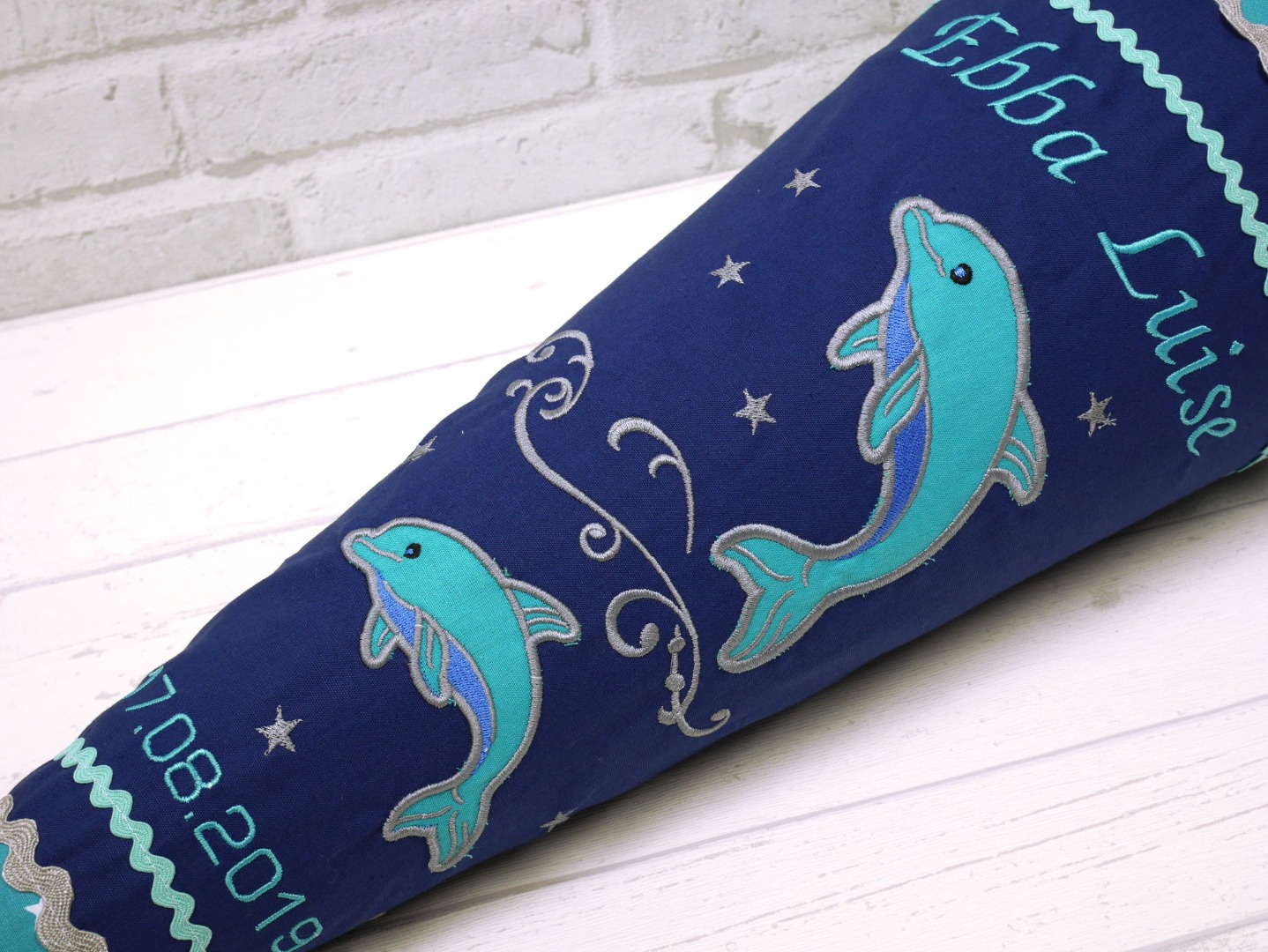 Schultüte Delfin blau türkis Stoff Zuckertüte