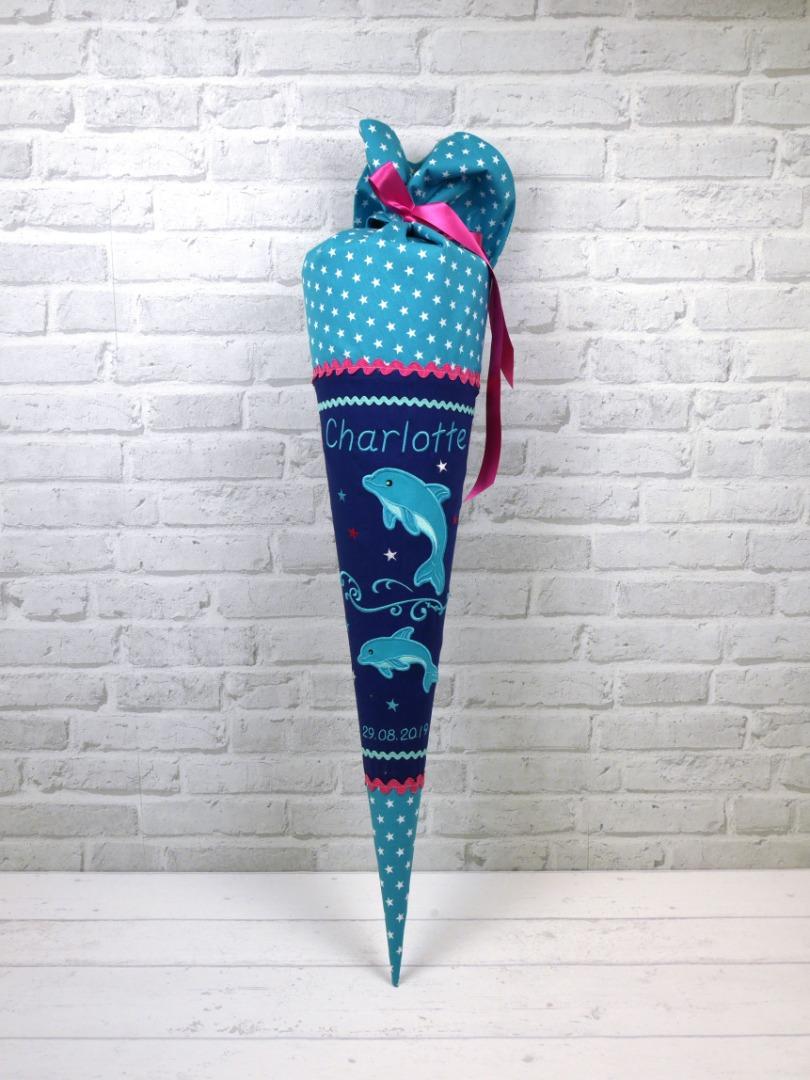 Schultüte Delfin blau türkis pink Stoff