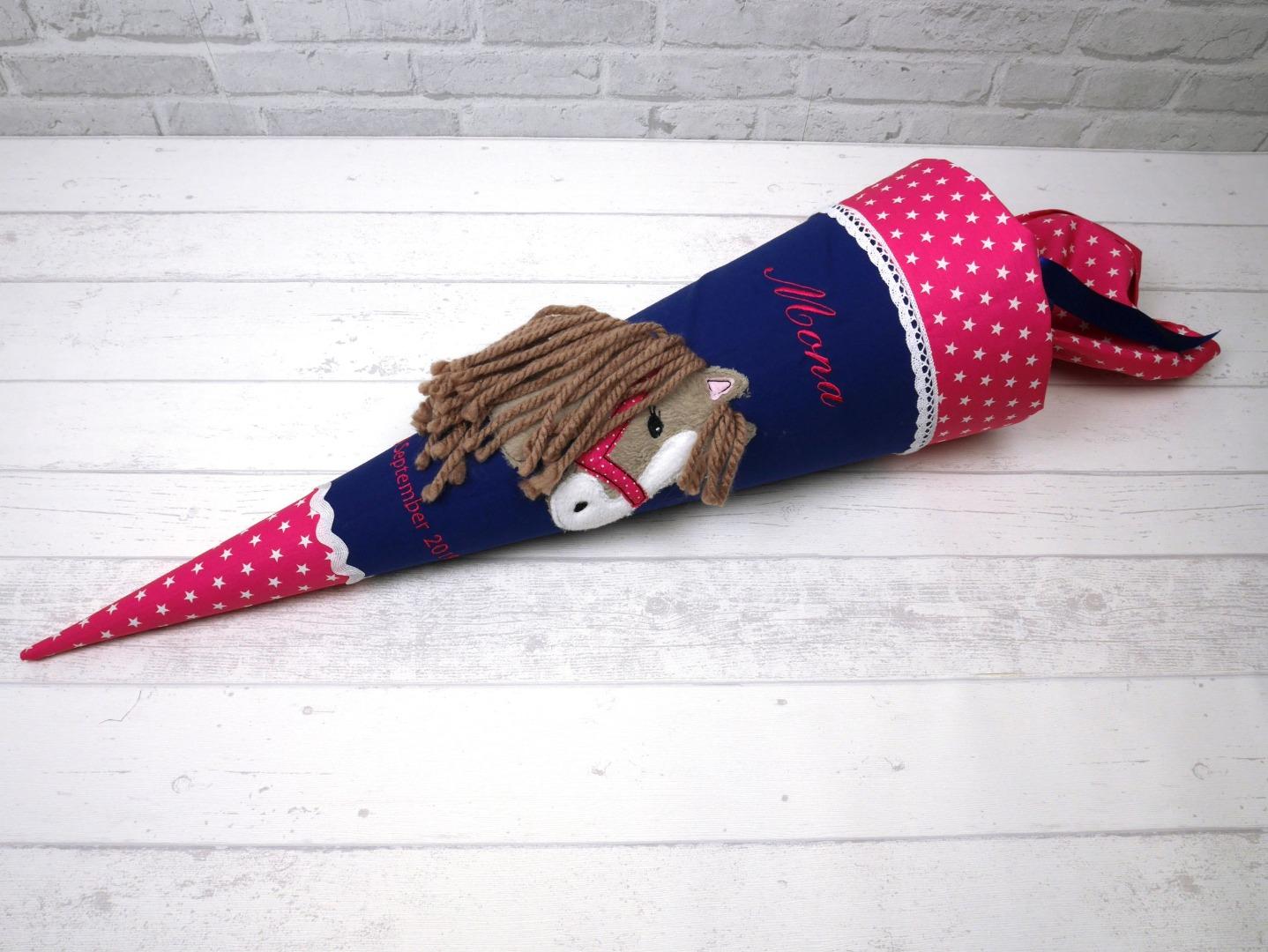Schultüte Pferd Stoff pink marineblau Zuckertüte
