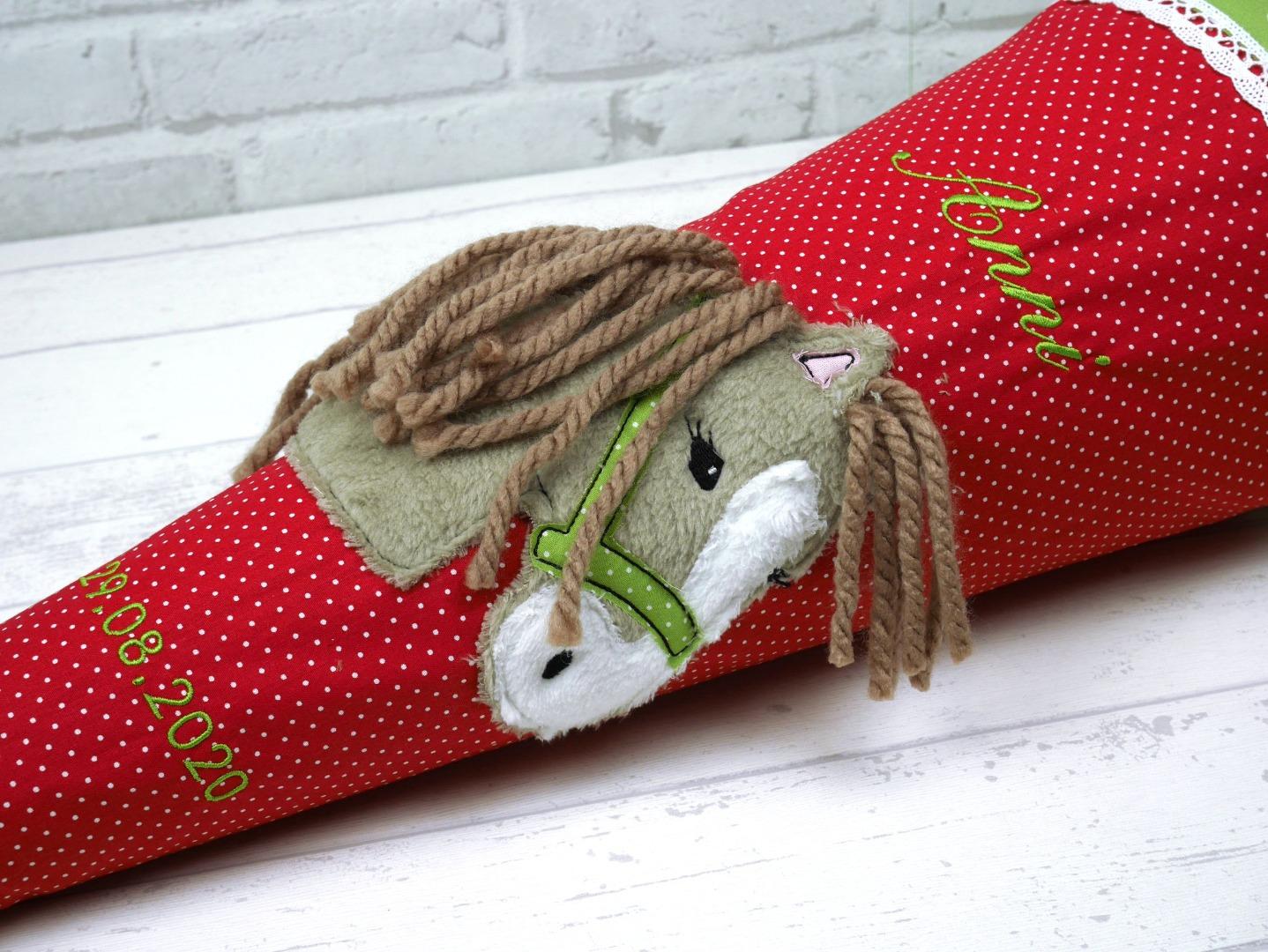 Schultüte Pferd Stoff rot Zuckertüte Pferdekopf