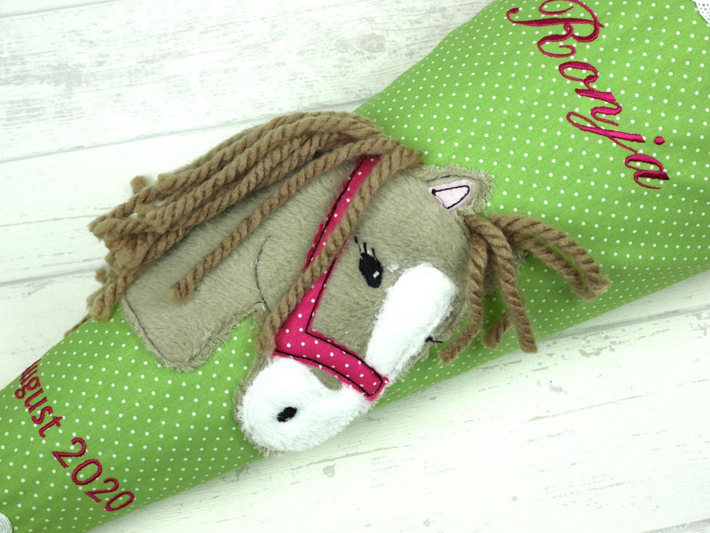 Schultüte Pferd Stoff grün Zuckertüte Pferdekopf