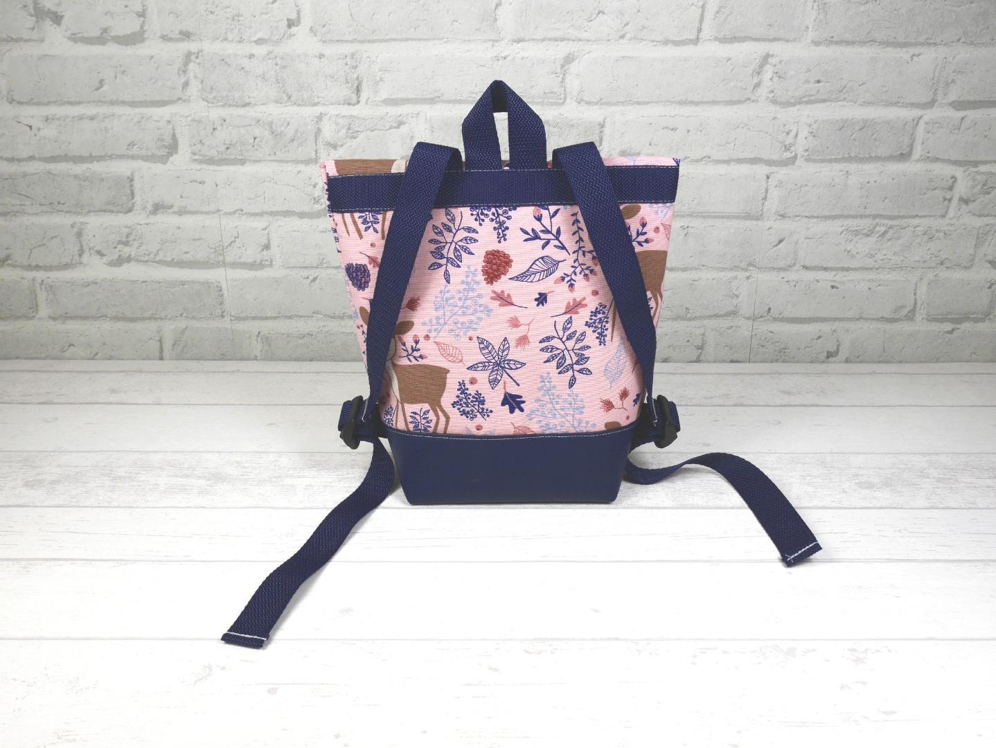 Kindergarten Foldover Rucksack rosa Reh mit