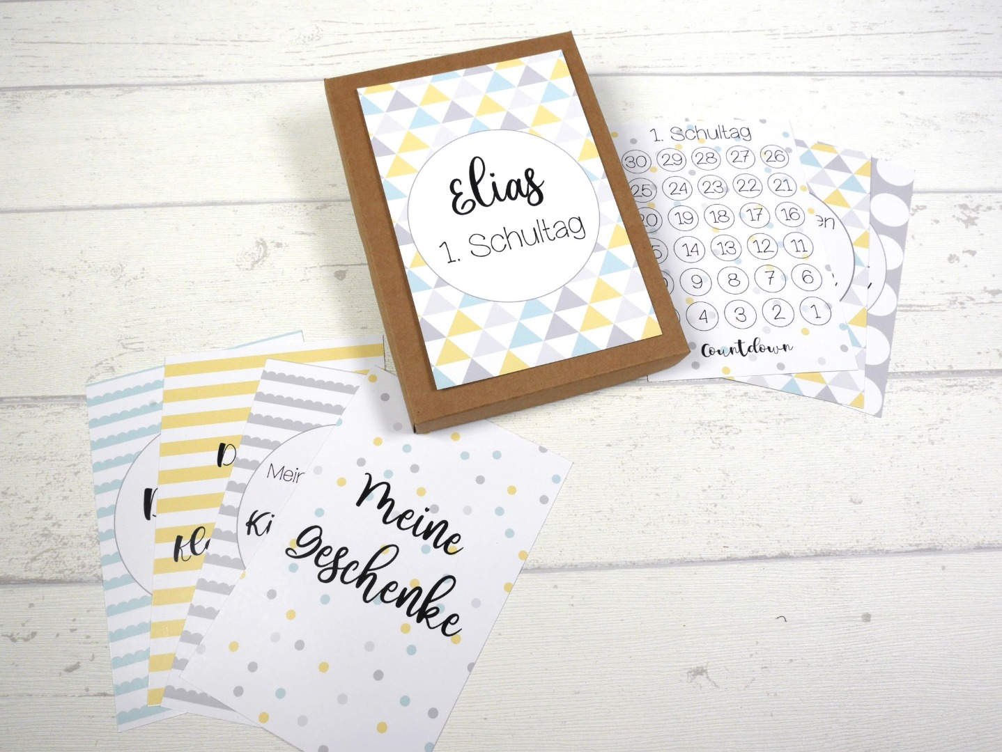 Meilensteinkarten blau gelb grau Einschulung personalisiert