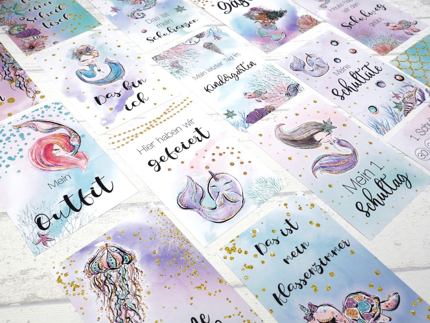 Meilensteinkarten Meerjungfrau Einschulung personalisiert Schultag mit