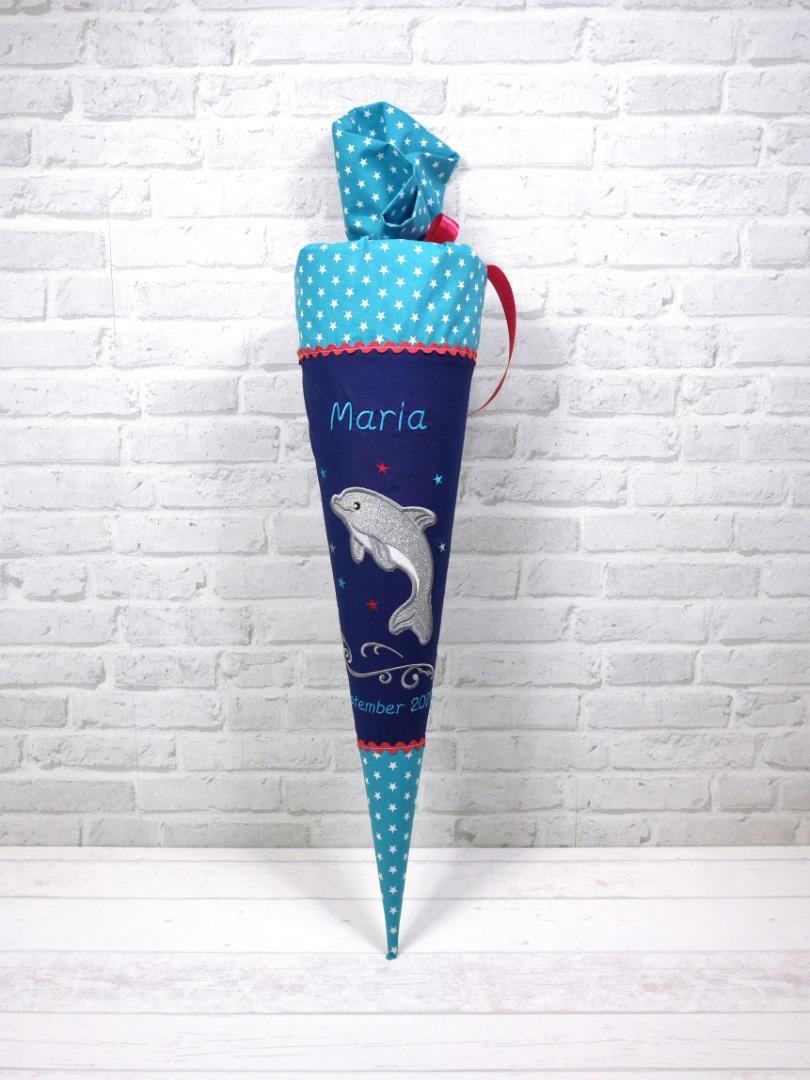 Schultüte Glitzer Delfin blau türkis pink