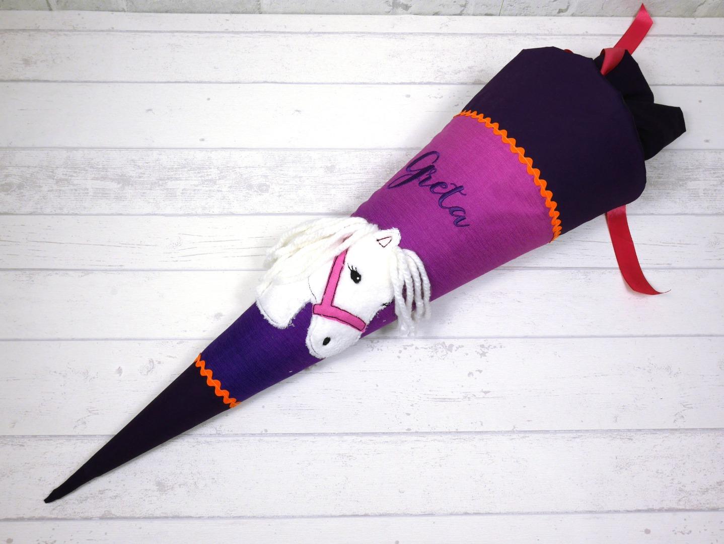 Schultüte Pferd pink lila Zuckertüte aus