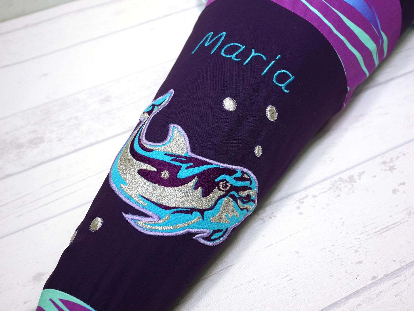 Schultüte aus Stoff Delfin Zuckertüte Glitzer