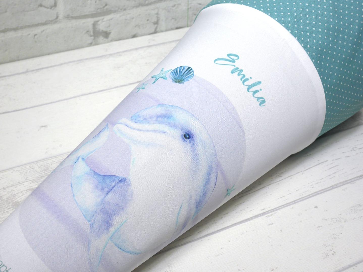 Delfin Schultüte aus Stoff 70cm mit