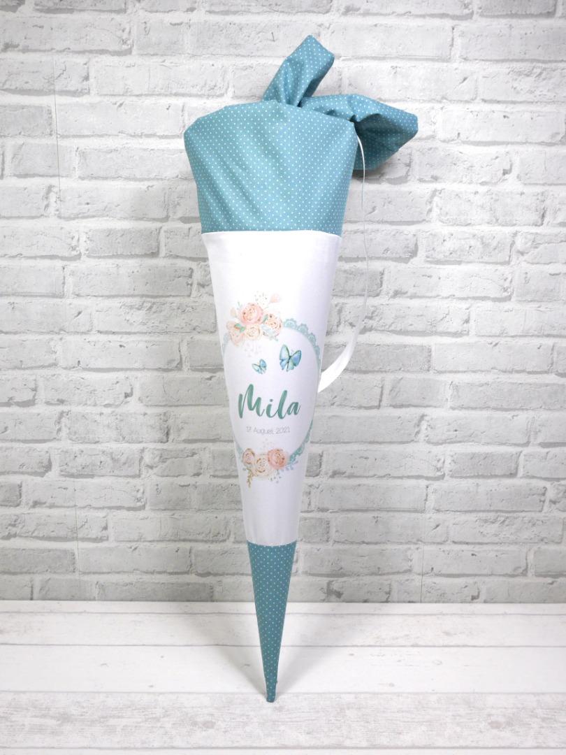 Blumen Schultüte aus Stoff 70cm mit