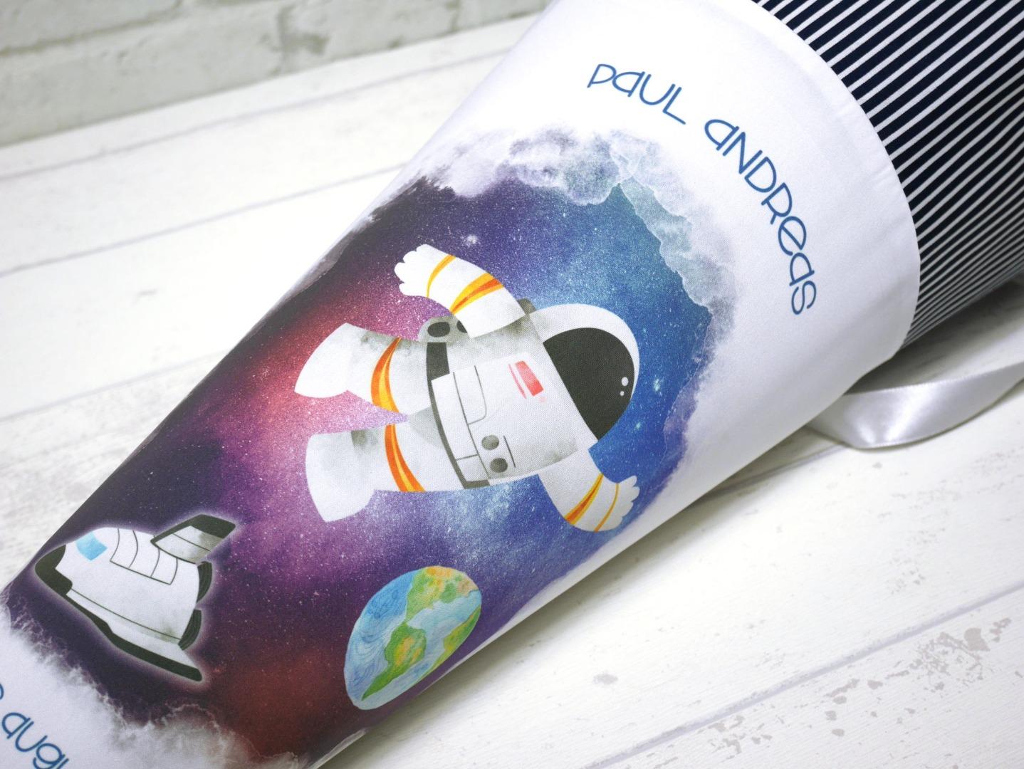 Schultüte Astronaut Zuckertüte Spaceshuttle Stoffschultüte mit