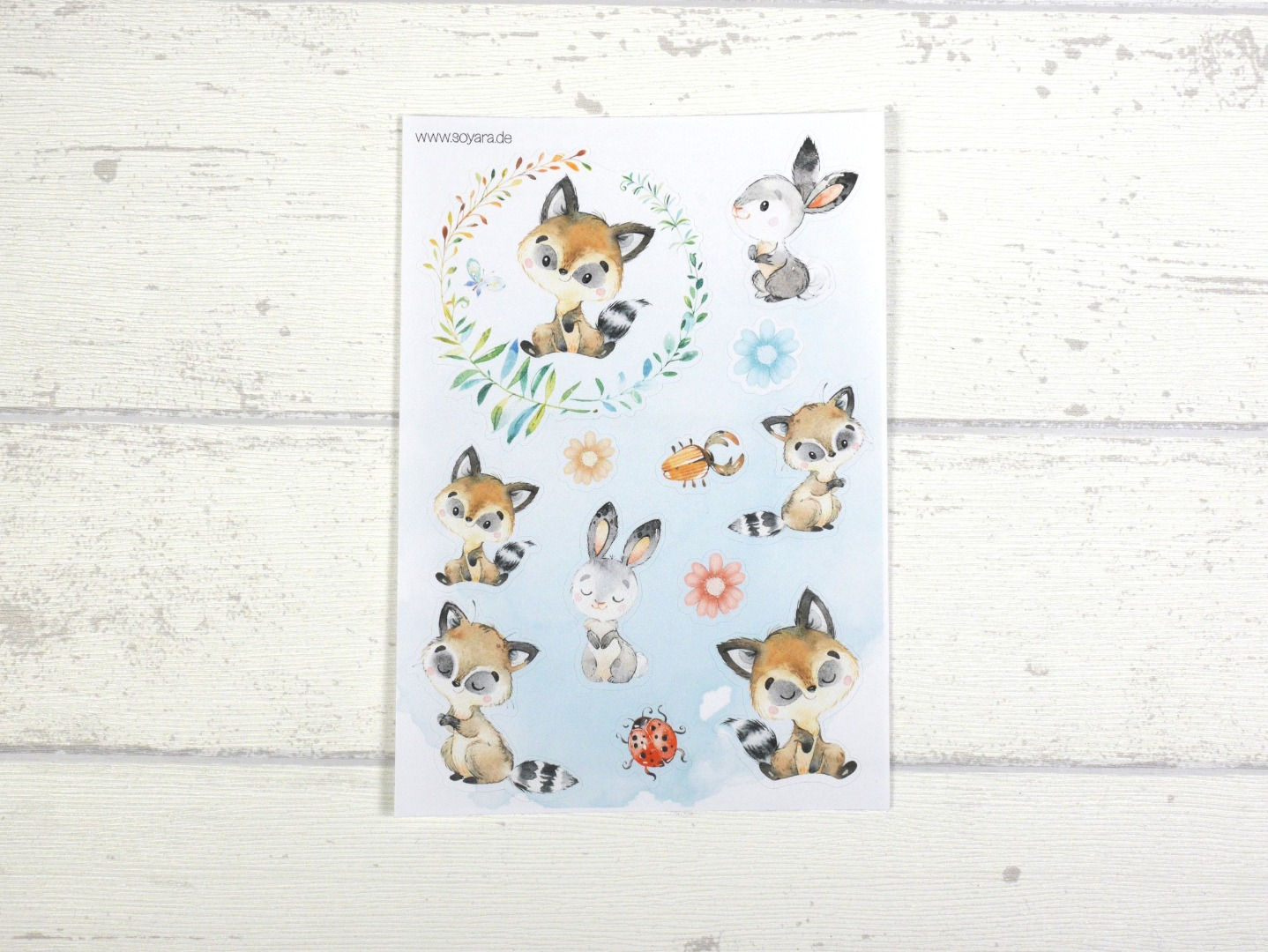 Sticker Set Tiere Waldtiere Aufkleber Fuchs