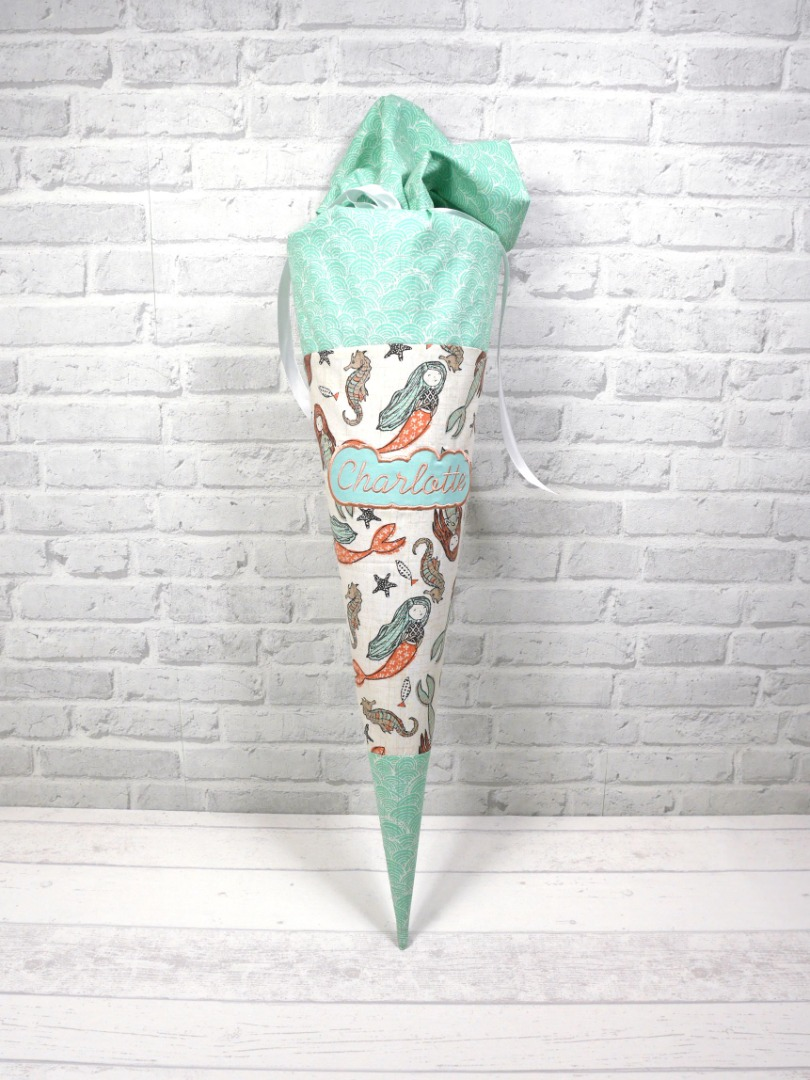 Schultüte Meerjungfrau aus Stoff Zuckertüte 70cm