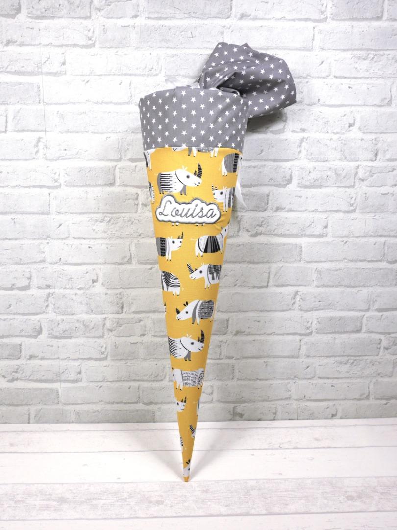 Retro Schultüte Nashorn aus Stoff Zuckertüte