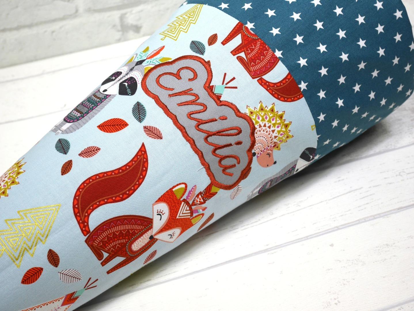 Schultüte Fuchs aus Stoff Zuckertüte Waschbär
