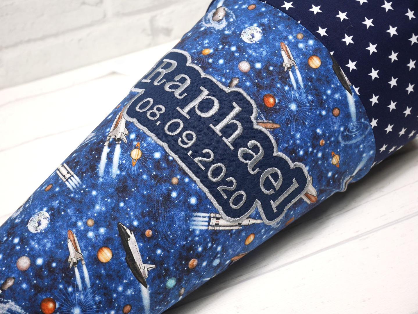 Schultüte aus Stoff Astronaut blau Zuckertüte