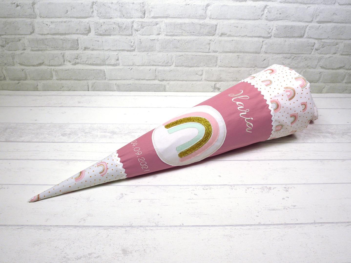 Schultüte Regenbogen Stoff Zuckertüte mit Name
