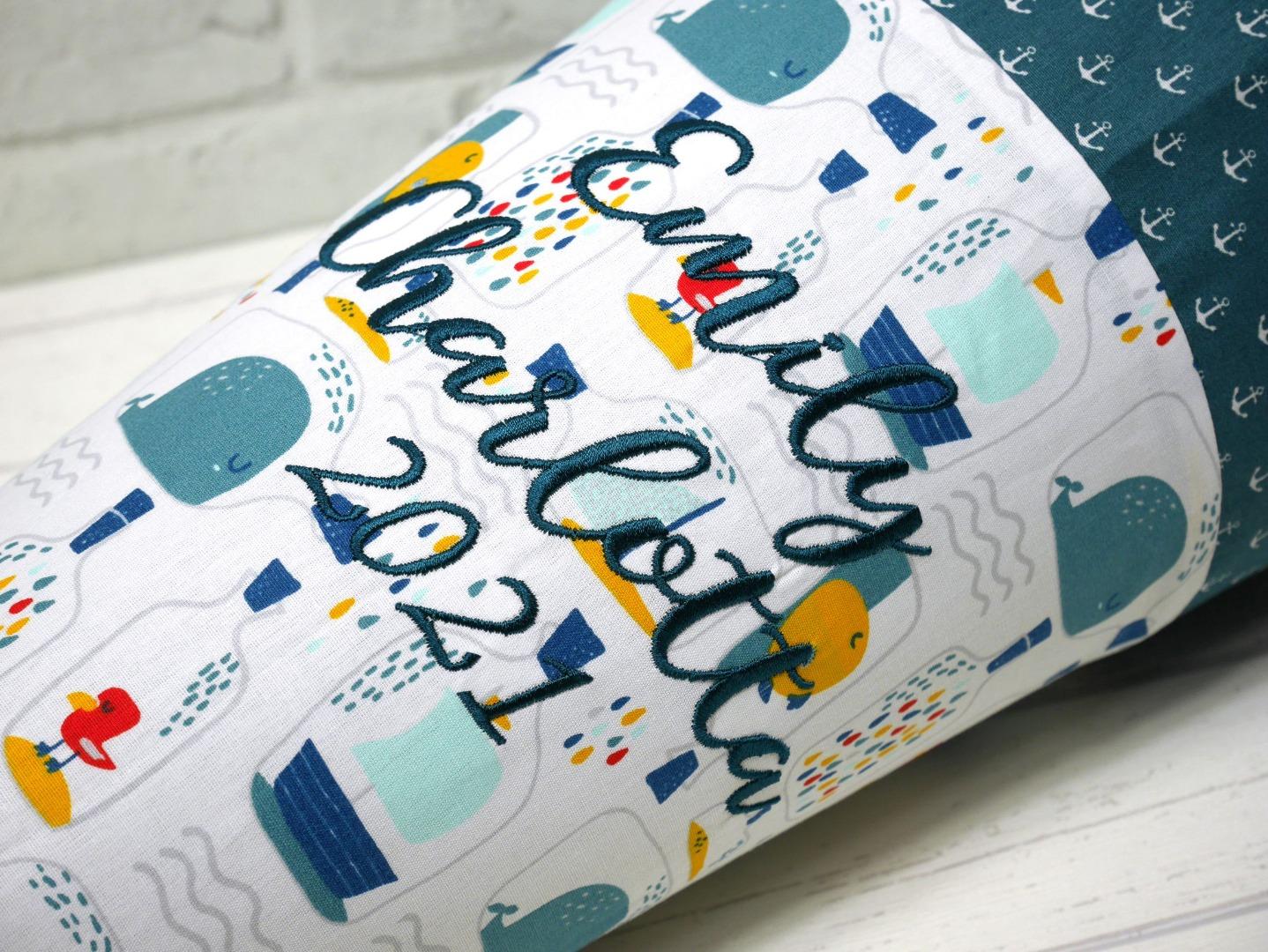 Schultüte aus Stoff Flaschenpost Zuckertüte Wal