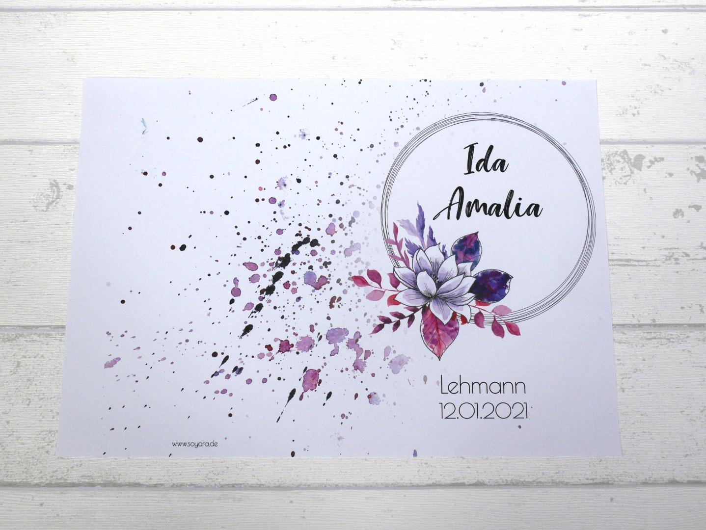 U-Heft Hülle Watercolor Blumen mit Impfpass