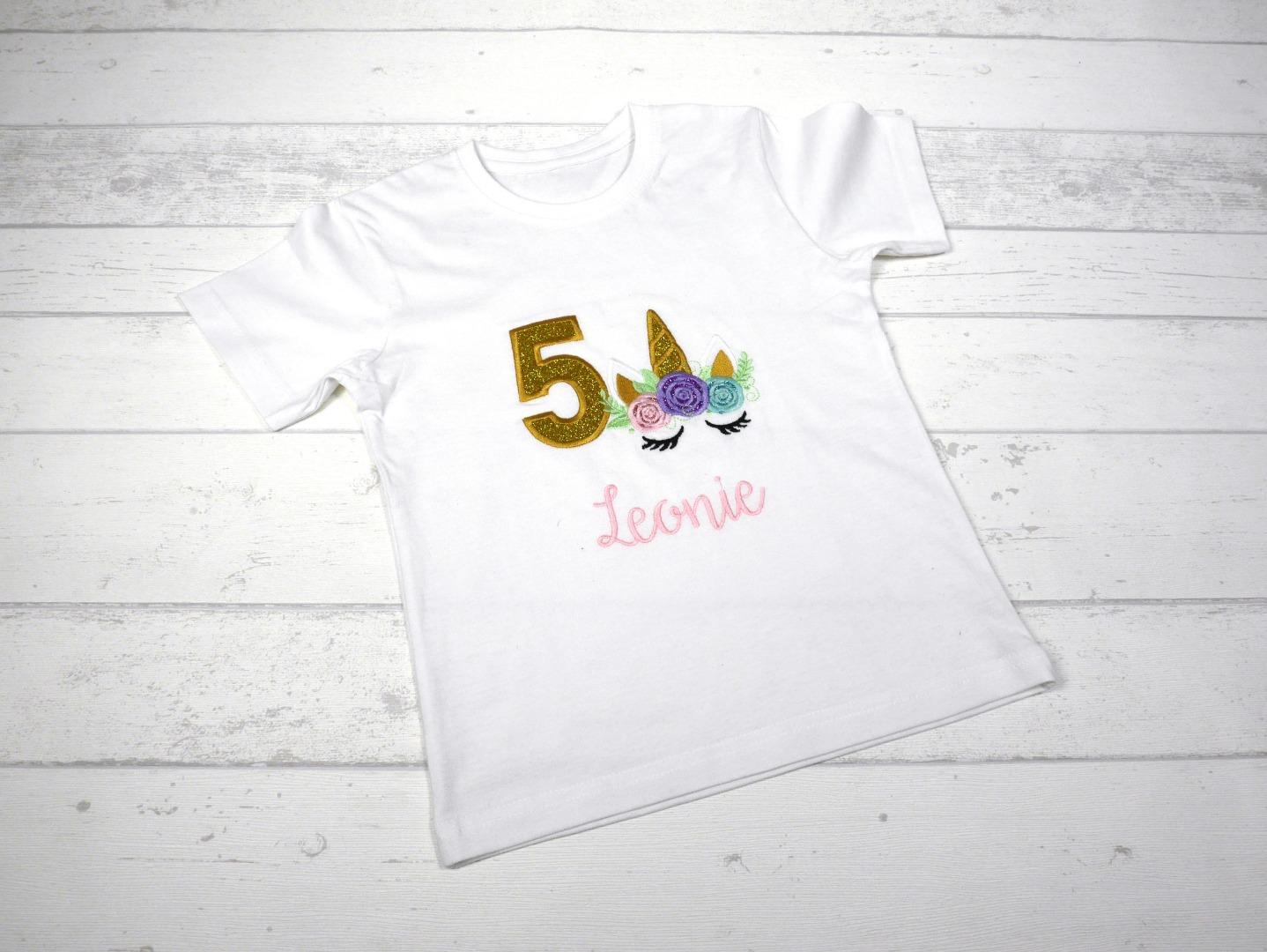 Shirt Geburtstag Einhorn personalisierbar mit Name