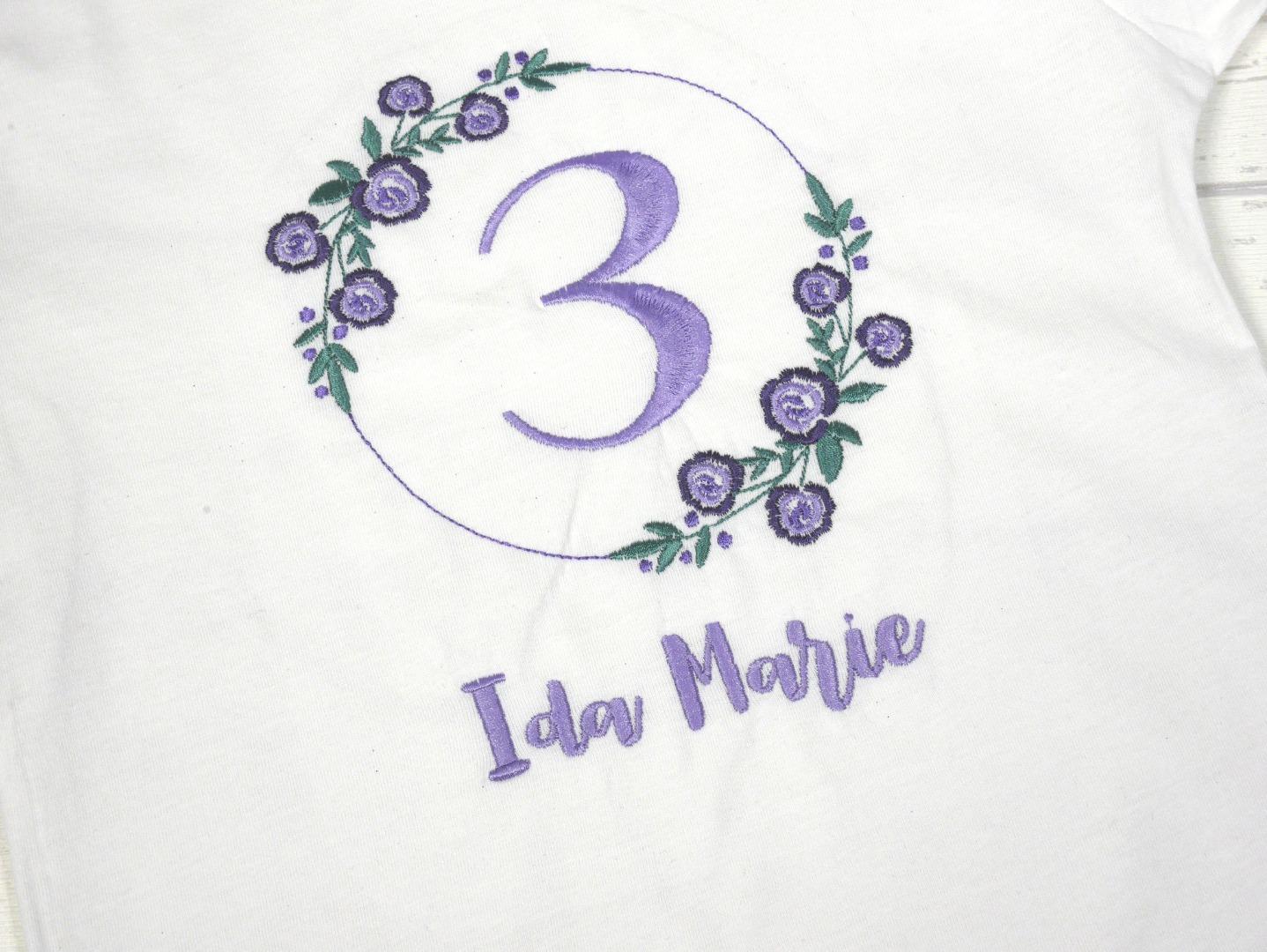 Shirt Geburtstag Blumen personalisierbar mit Name