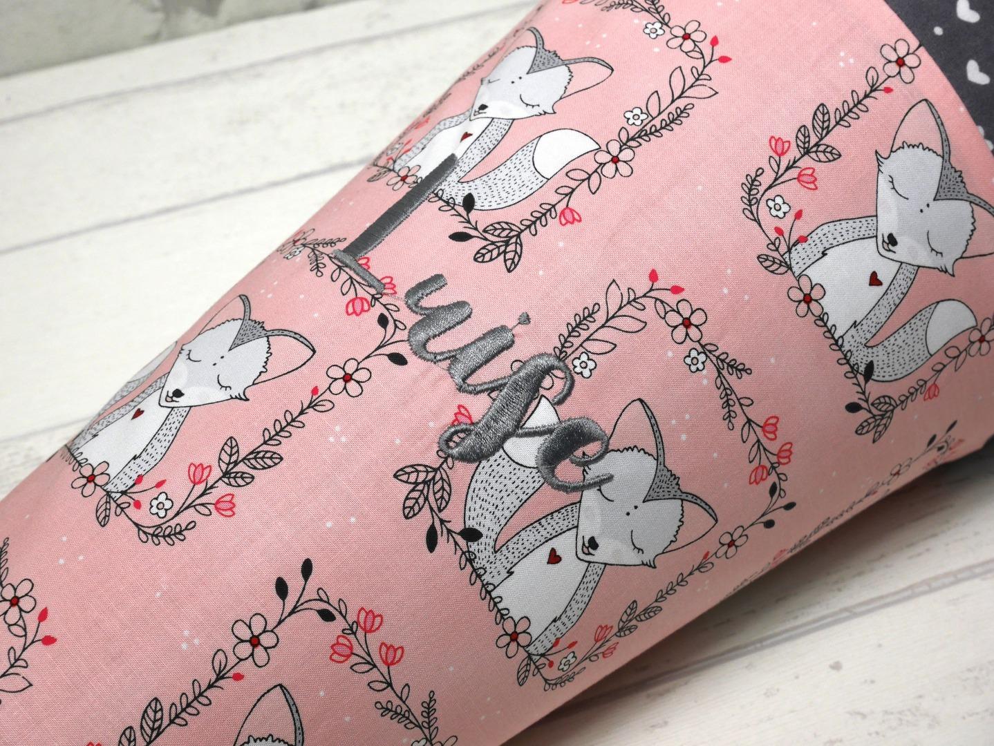 Schultüte aus Stoff Fuchs rosa grau