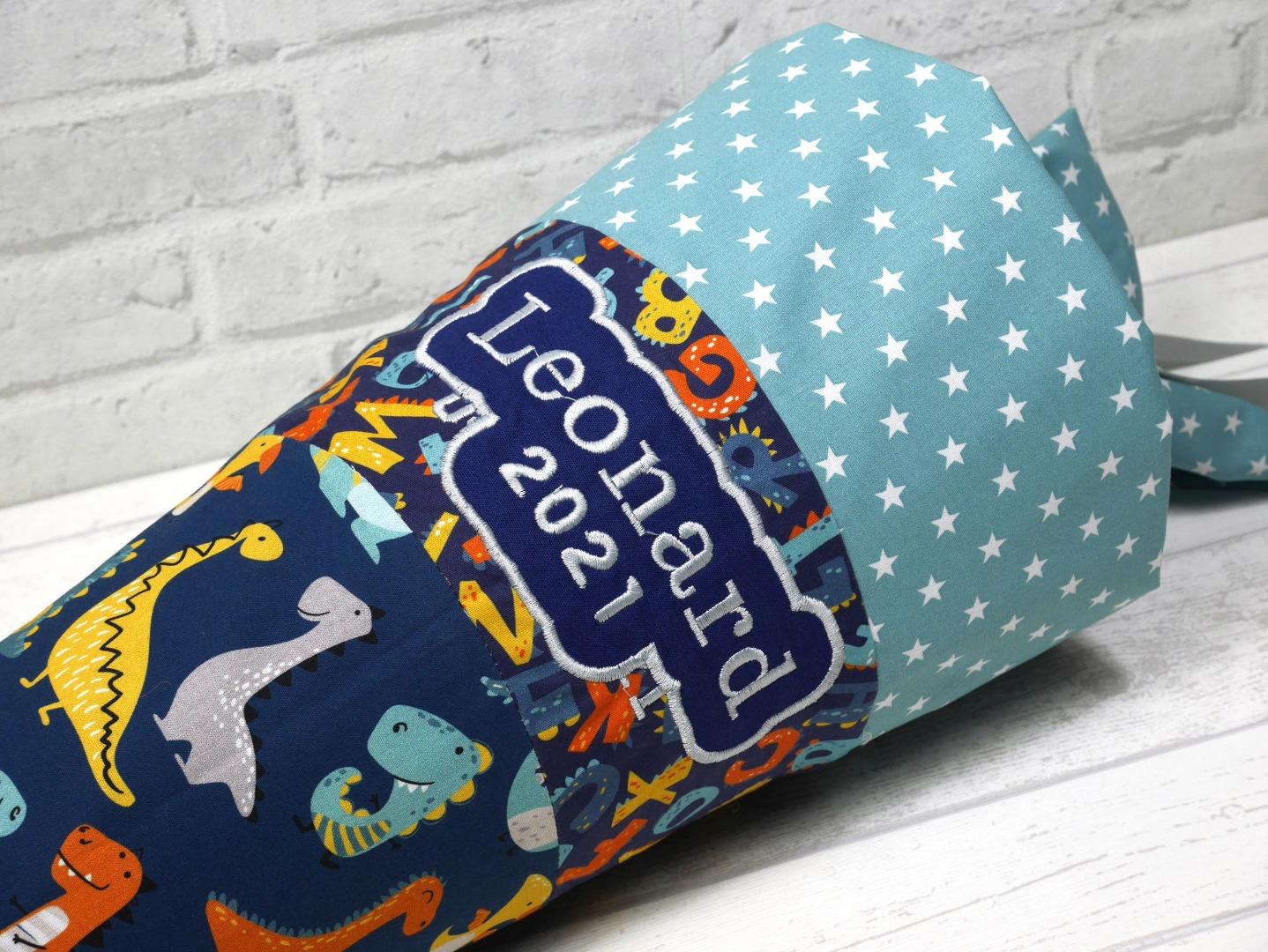 Dinosaurier Schultüte blau aus Stoff 70cm